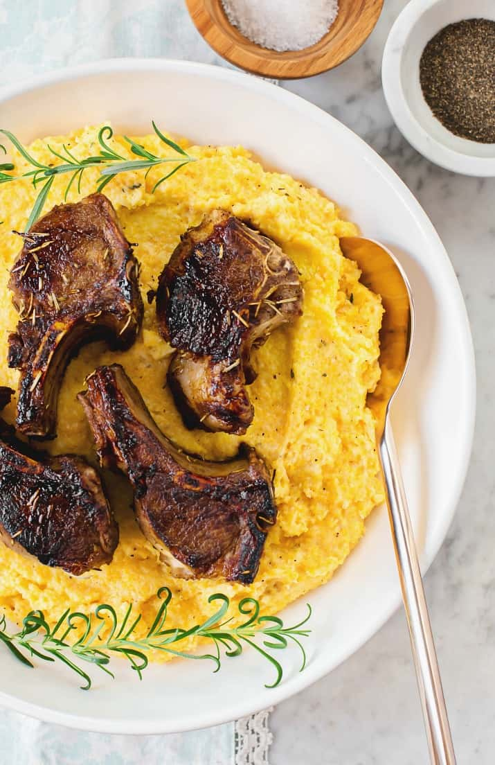 Lamb Chops with Goat Cheese Polenta with salt and pepper bowls