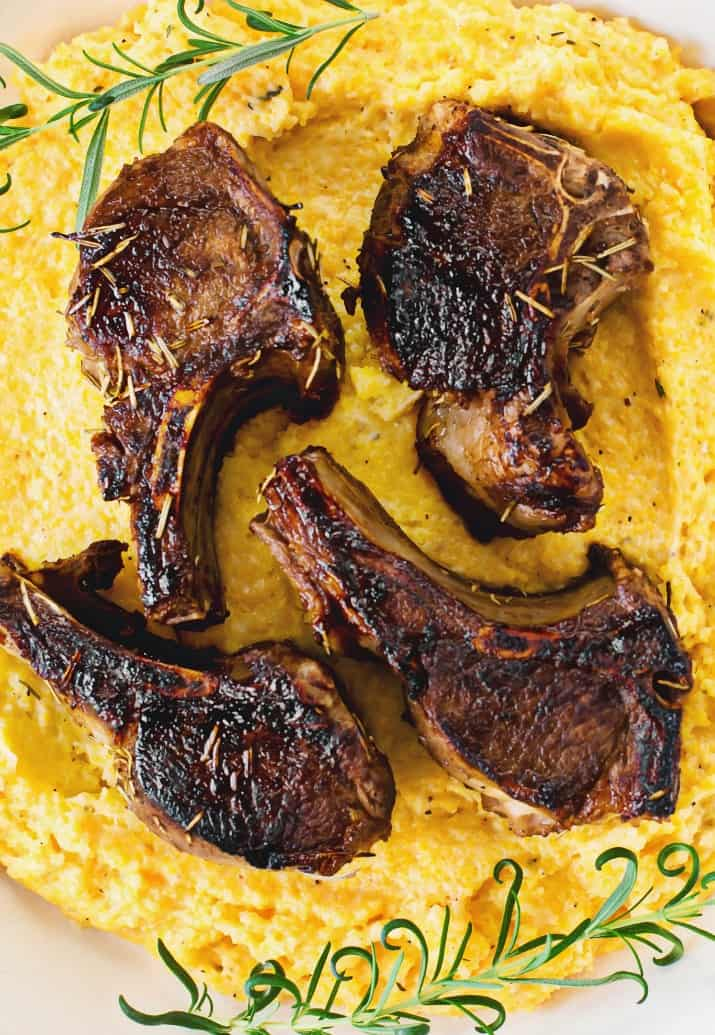 Lamb Chops with Goat Cheese Polenta recipe for entertaining
