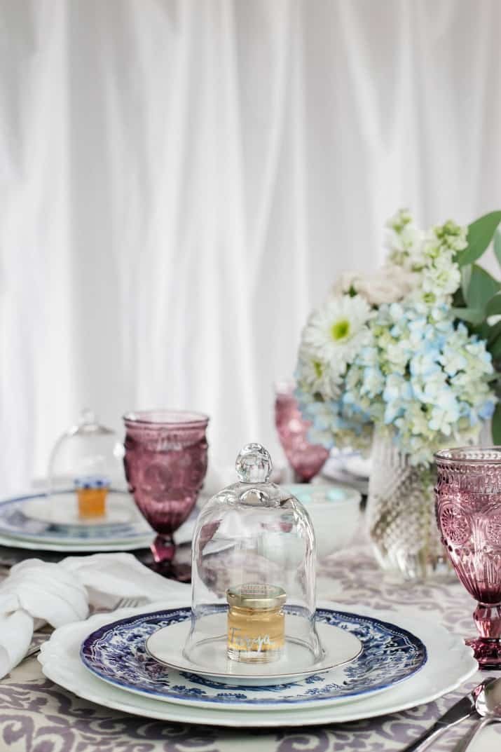 spring entertaining ladies luncheon table setting in blue, white, and purple