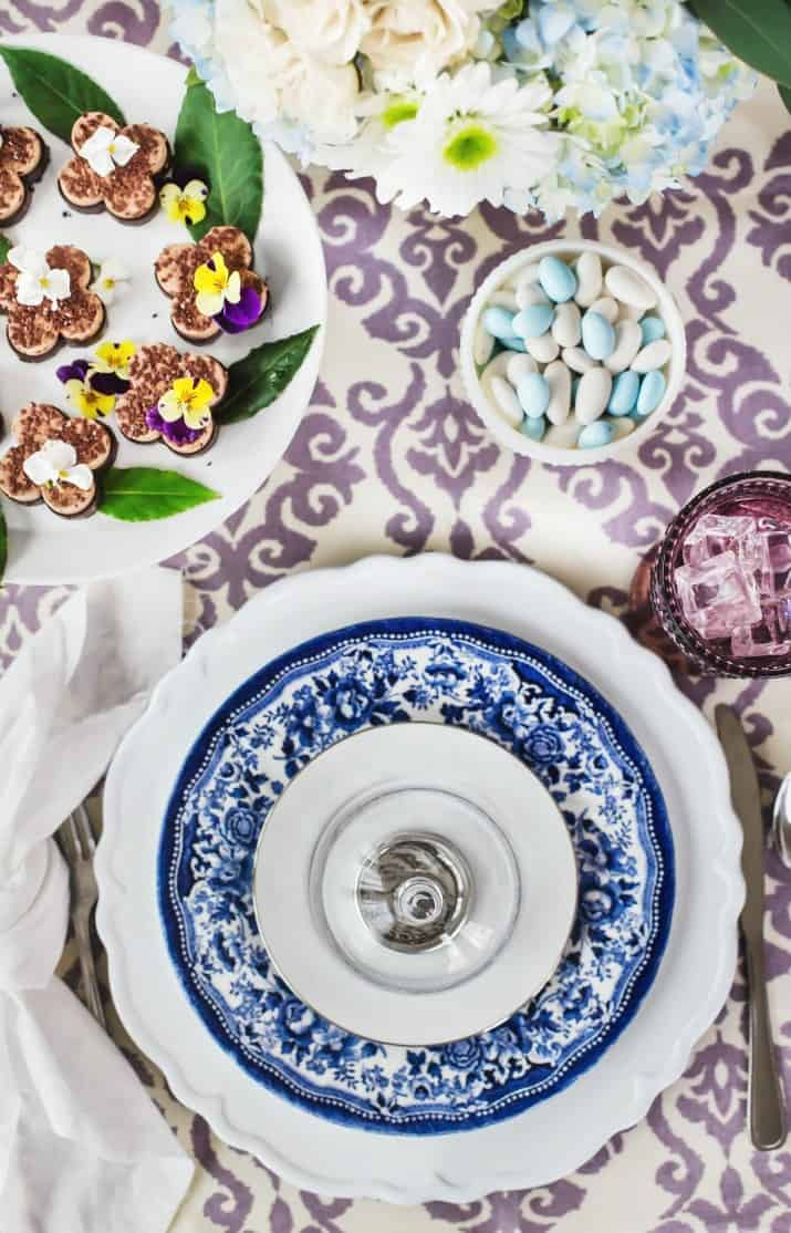 Spring Ladies Luncheon blue and white and purple tablescape