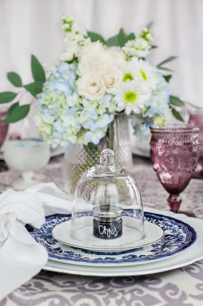 Ladies Luncheon place settings with flower centerpiece