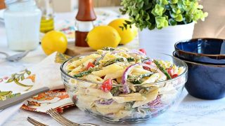 Asparagus Pasta Salad with Creamy Lemon Dressing