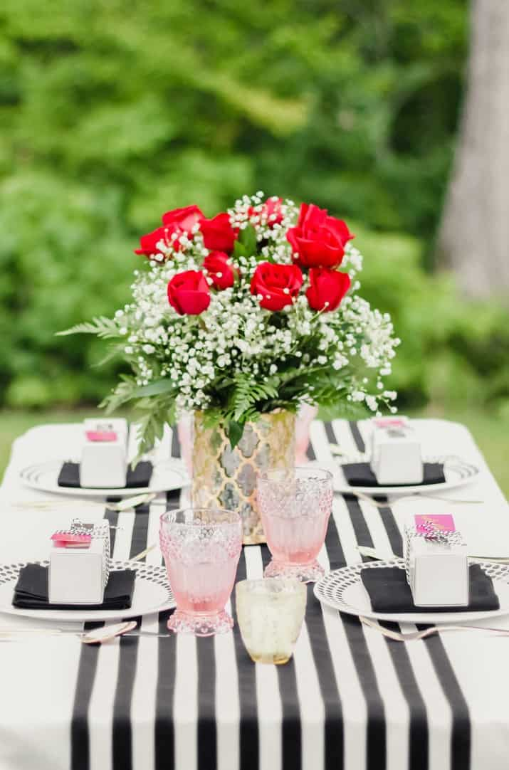 table setting with black and white stripes
