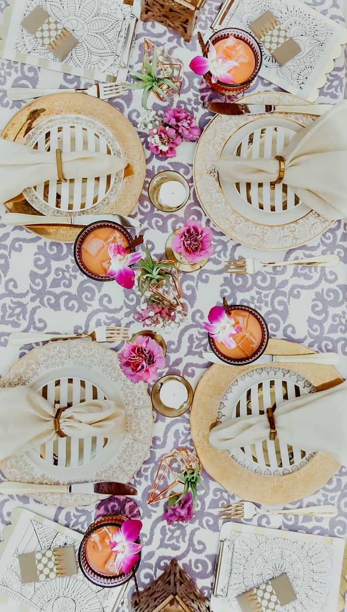 purple and gold tablescape