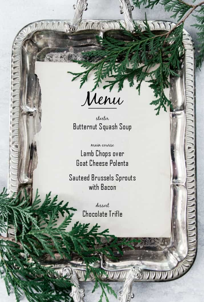 Christmas dinner menu on silver tray
