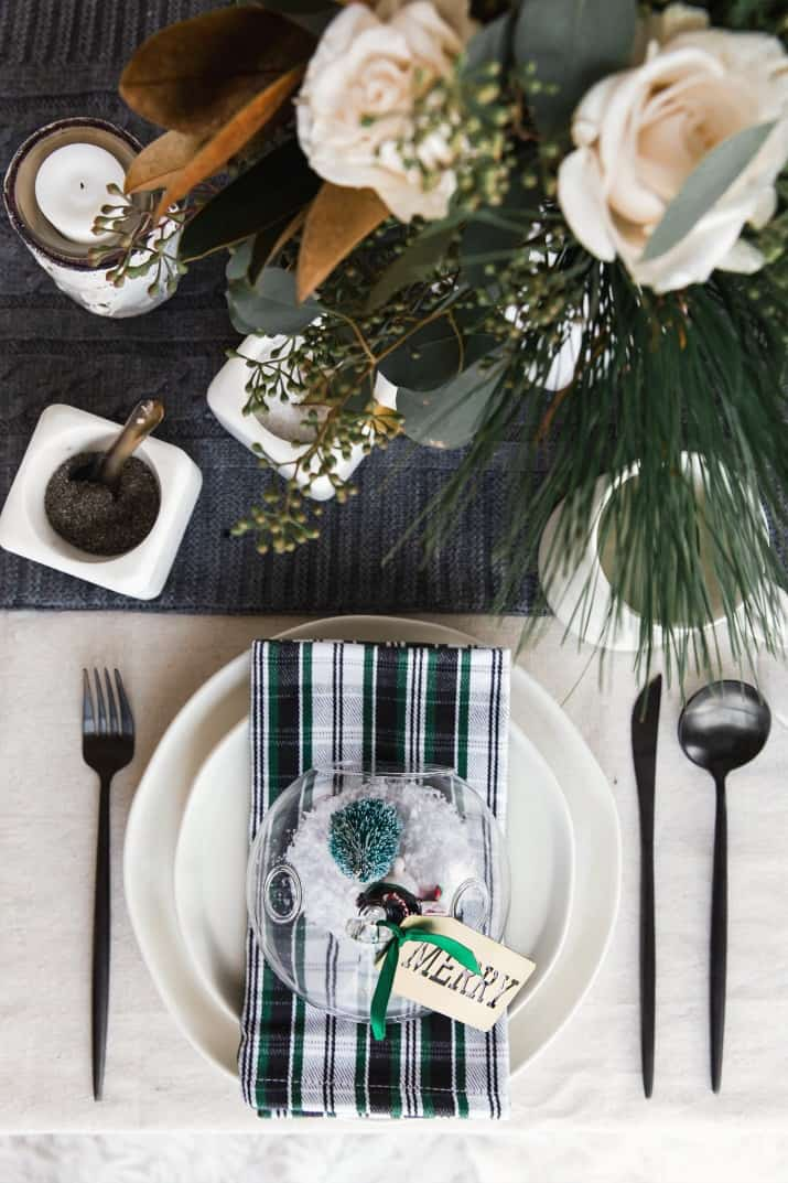 natural theme Christmas place setting with plaid napkin