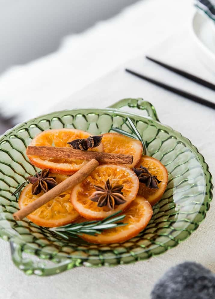 orange slices on green dish