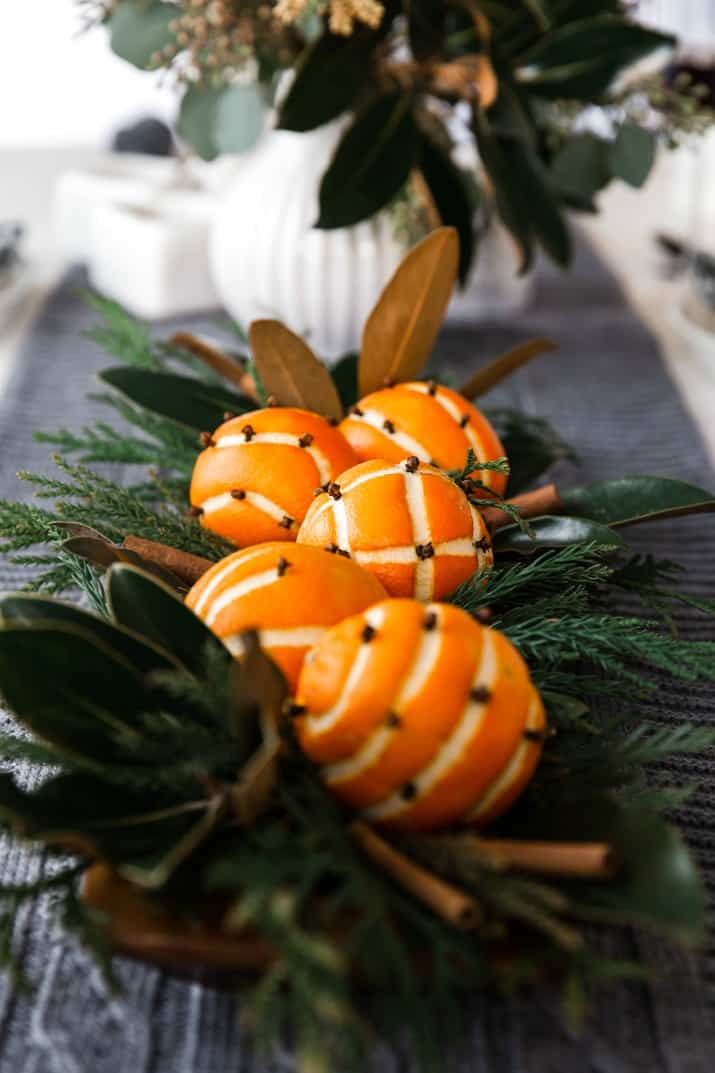 orange pomanders centerpiece