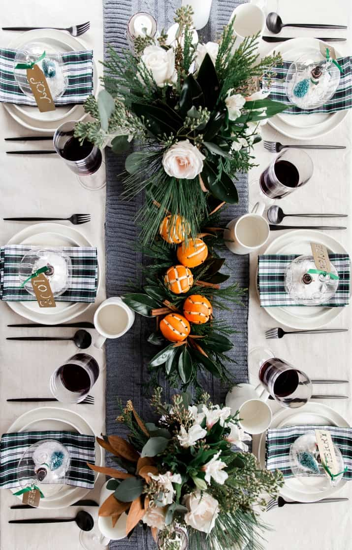 natural tablescape for Christmas
