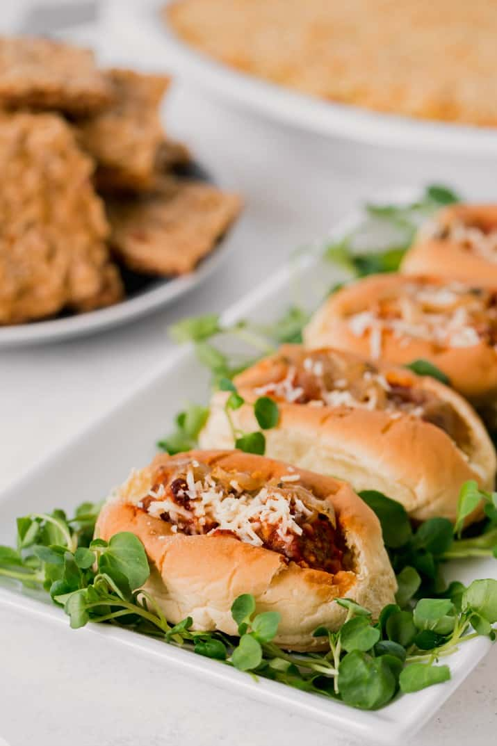 mini meatball subs for game day party