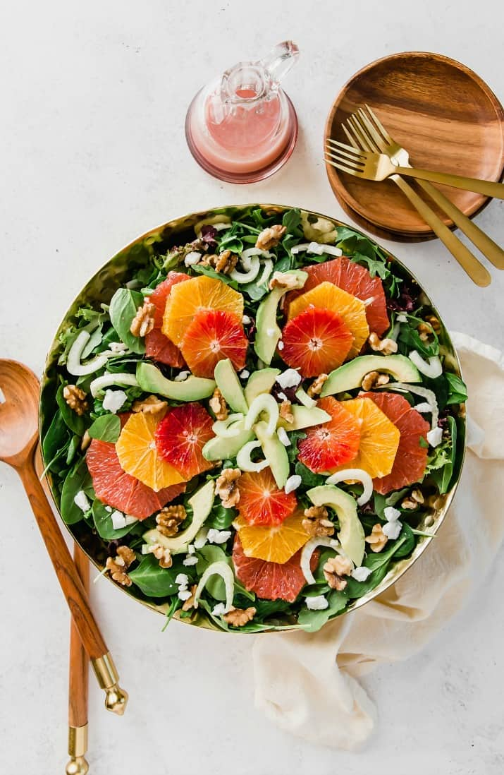 green salad with oranges, fennel, and avocado