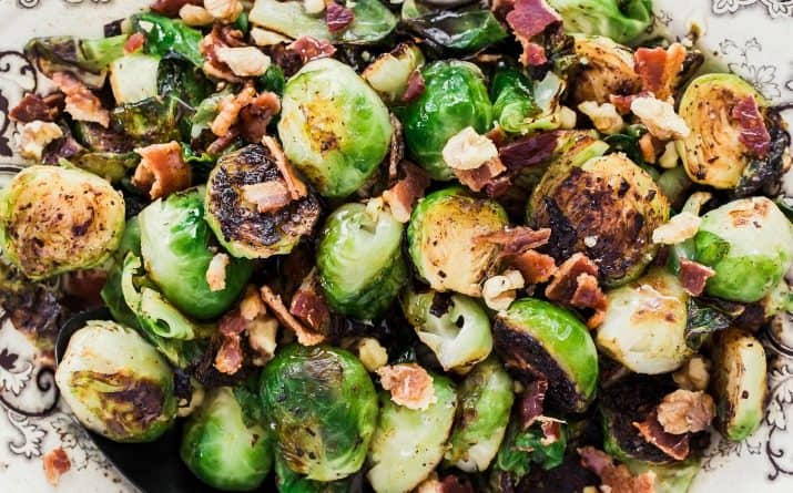 Easy Vegetable Side Dish – Brussels Sprouts with Bacon & Honey