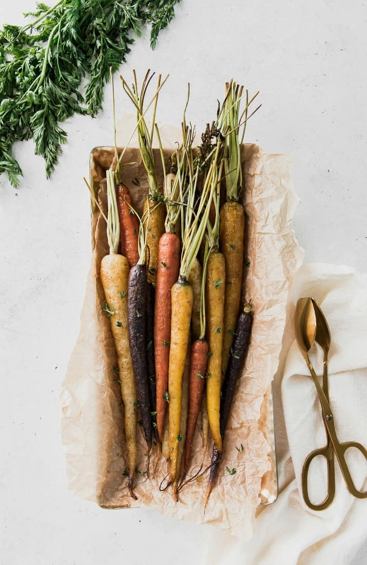 Easy roasted carrots, tri-color with stems