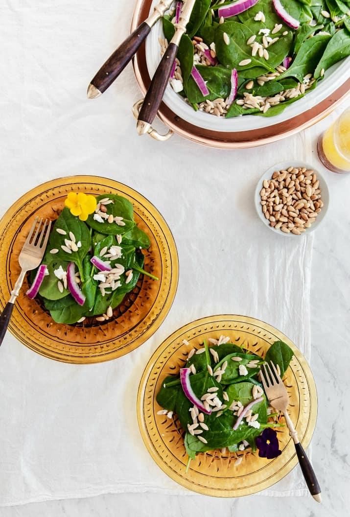green salad on amber plates