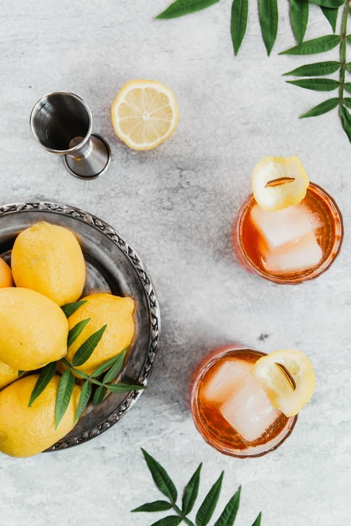 Aperol cocktails overhead view with lemons