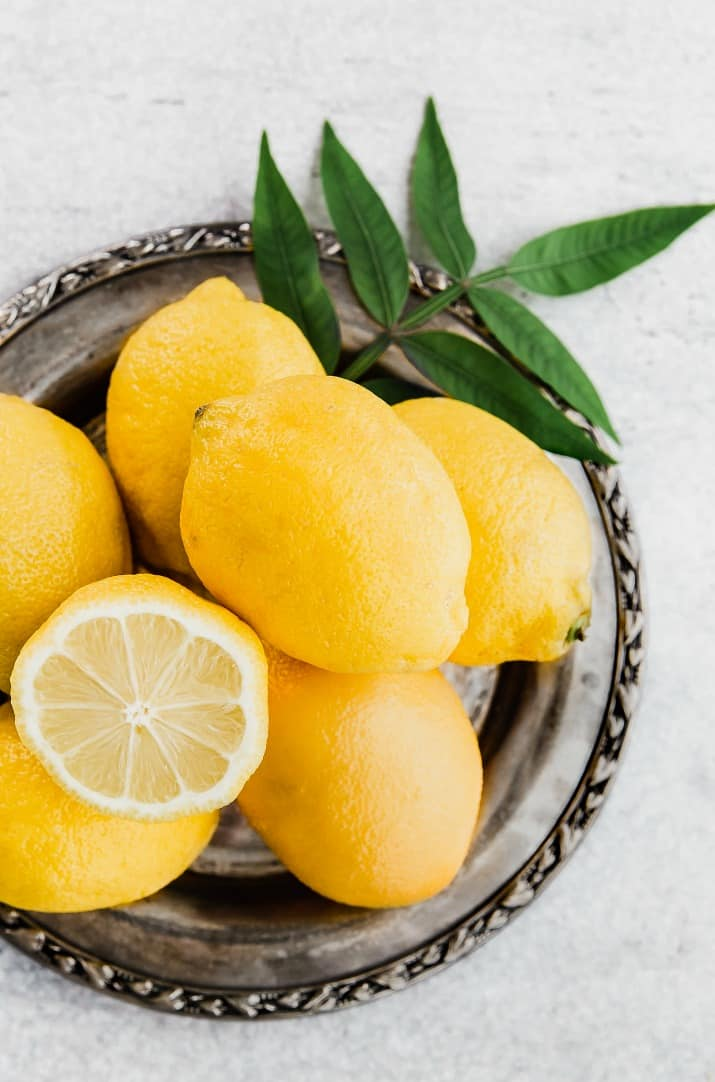 lemons on silver tray