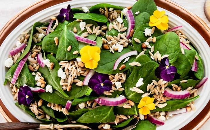 spinach and orzo salad recipe card