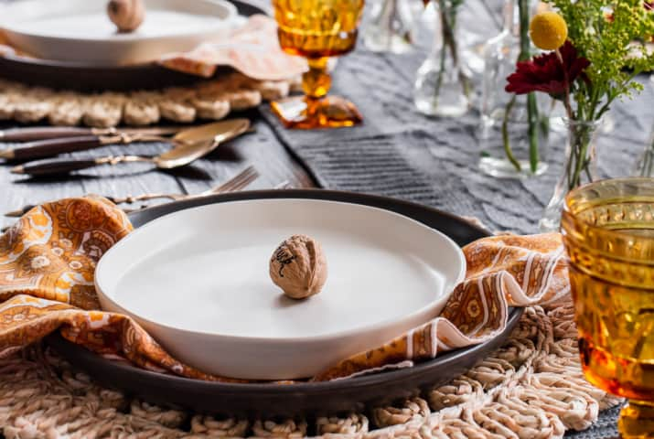 Thanksgiving table setting gray and yellow