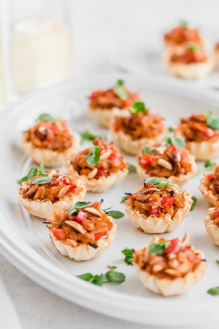 party appetizers on white platter
