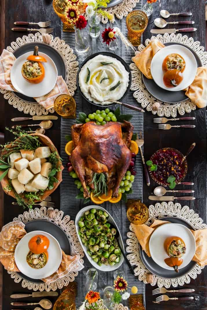 Thanksgiving table with food, overhead view