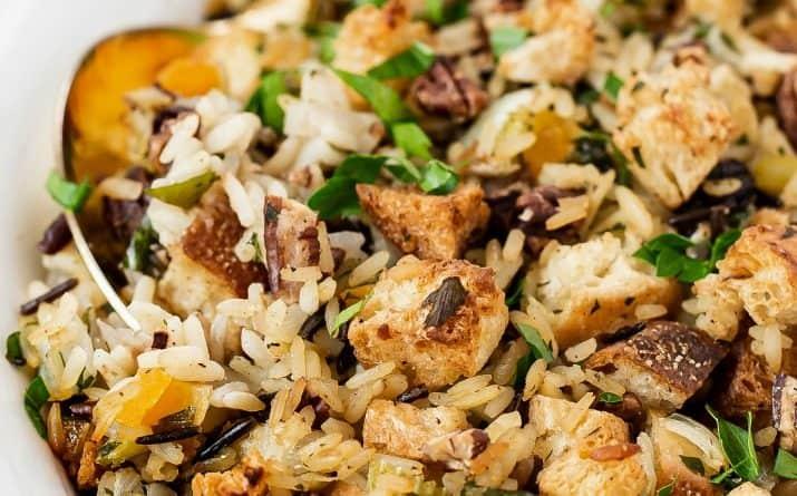 Easy Wild Rice Dressing Side Dish Recipe (vegetarian)