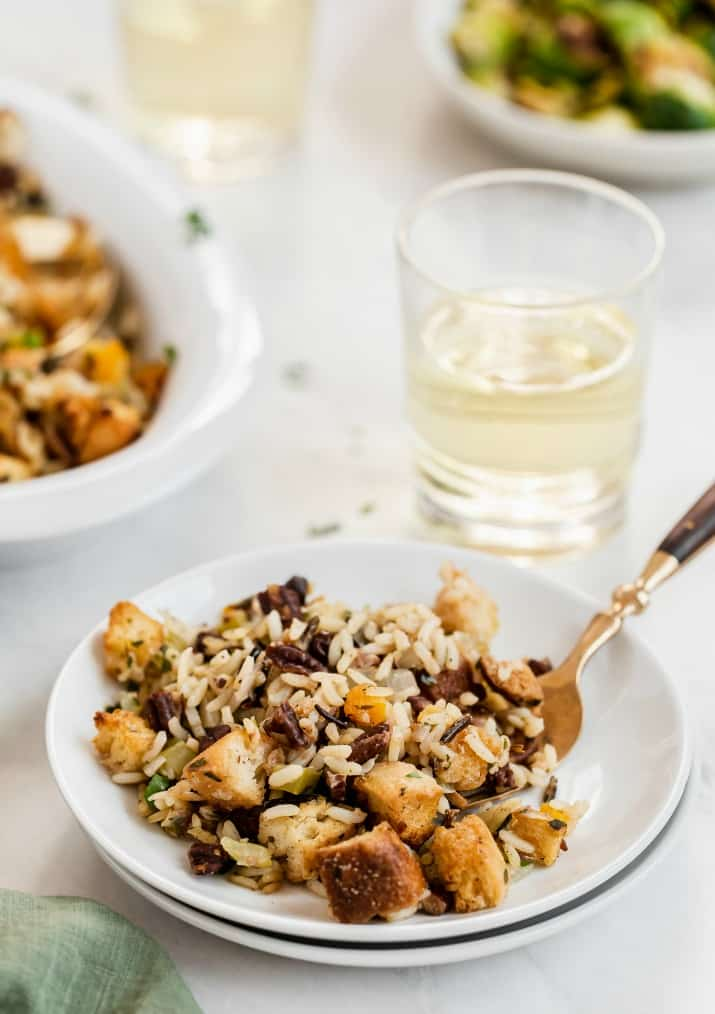wild rice dressing on white plate