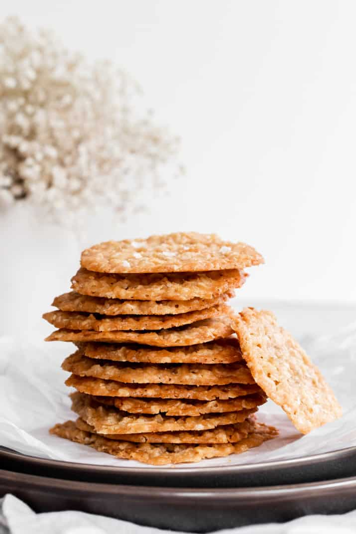lacey oatmeal cookies stacked