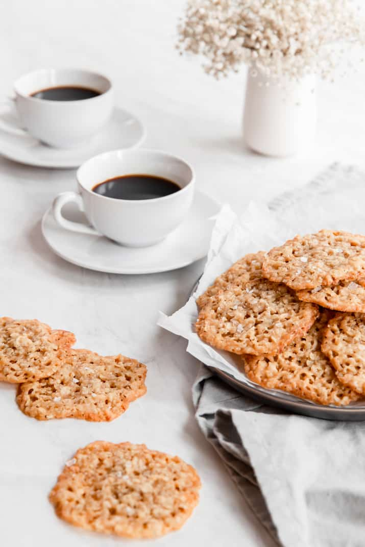 oatmeal cookies served with coffee