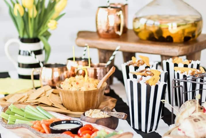 football party table with food