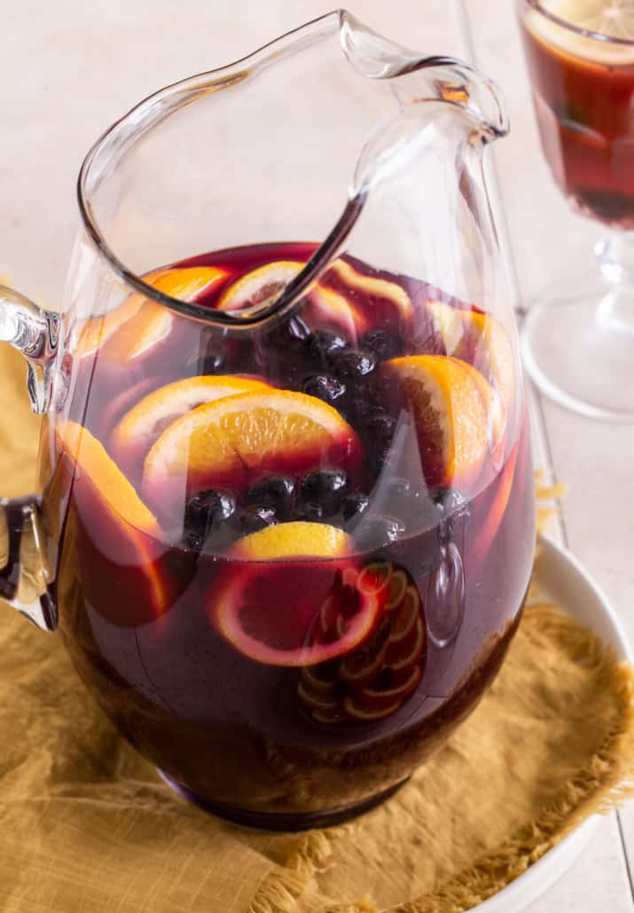 red drink in glass pitcher