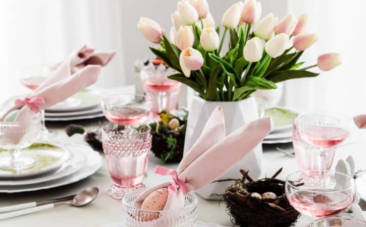 Easter Table Setting Ideas with Pink and Green