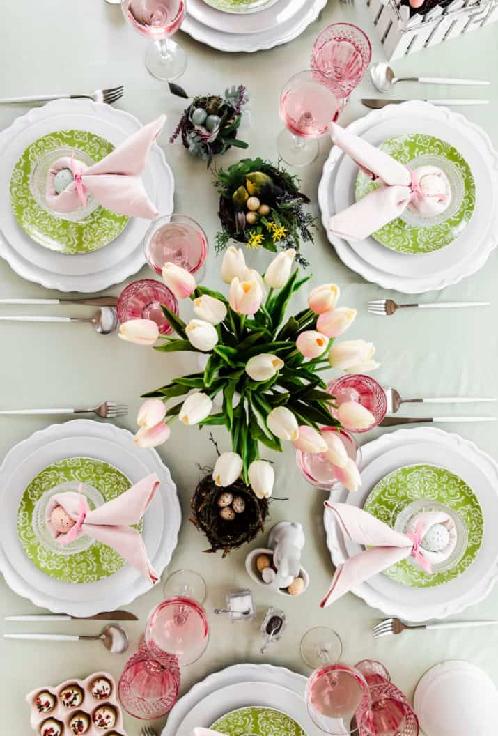 pink and green tablescape overhead