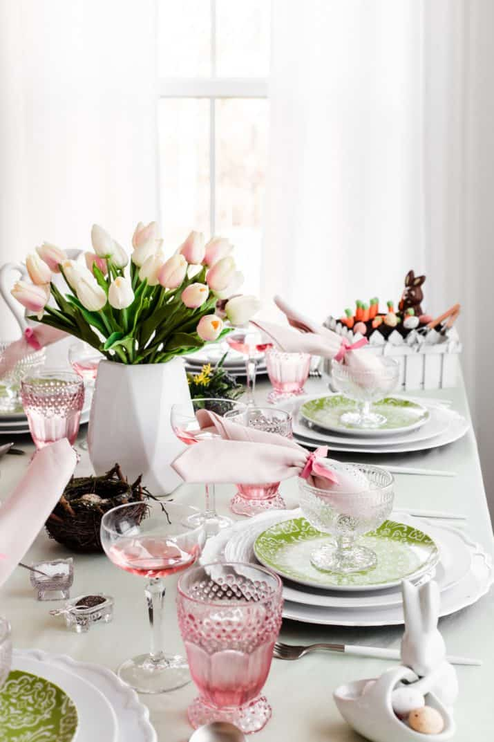 pink and green table setting