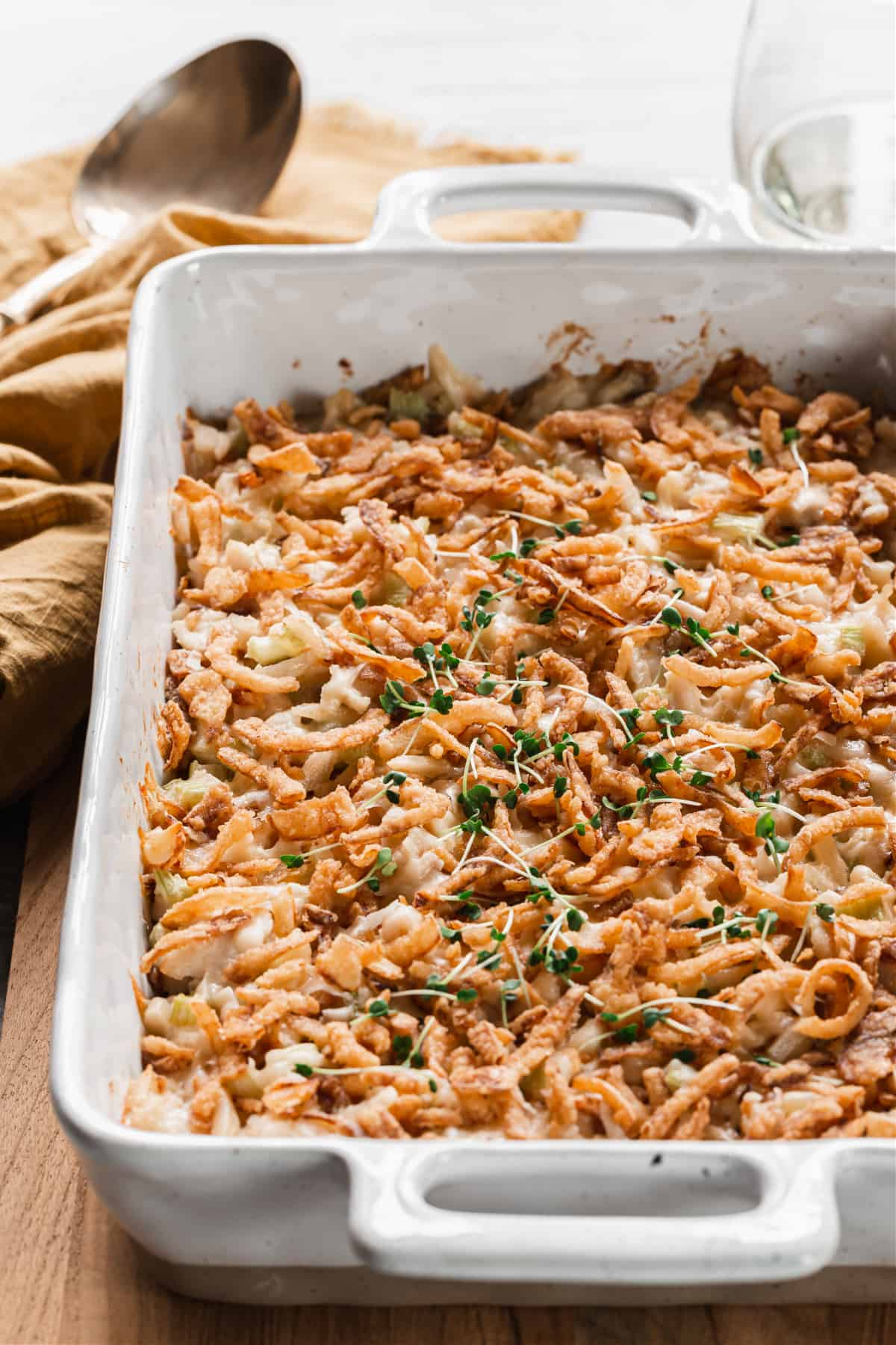 baked casserole with crispy fried onions on top