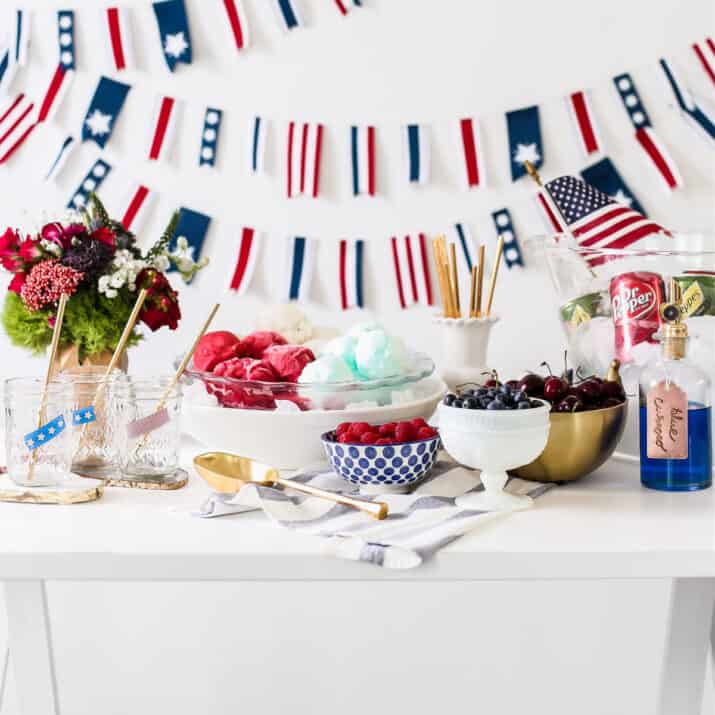 red white and blue ice cream float bar setup