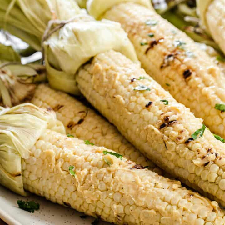 grilled corn with flavored butter recipe card