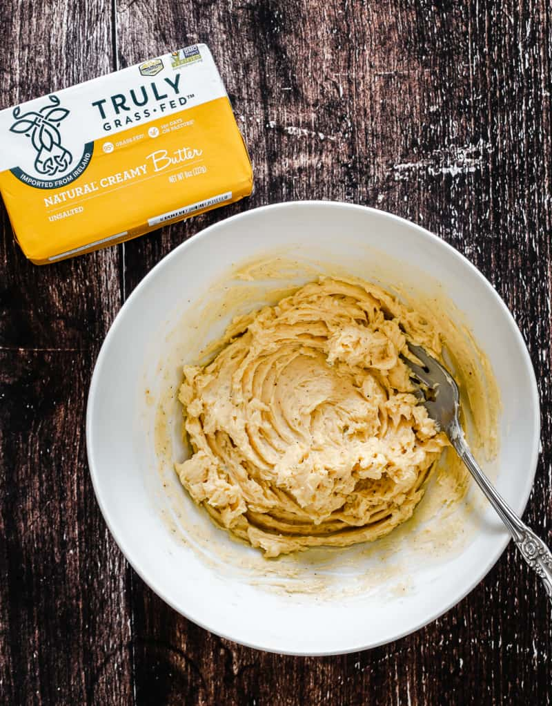truly grass fed butter package, flavored in bowl
