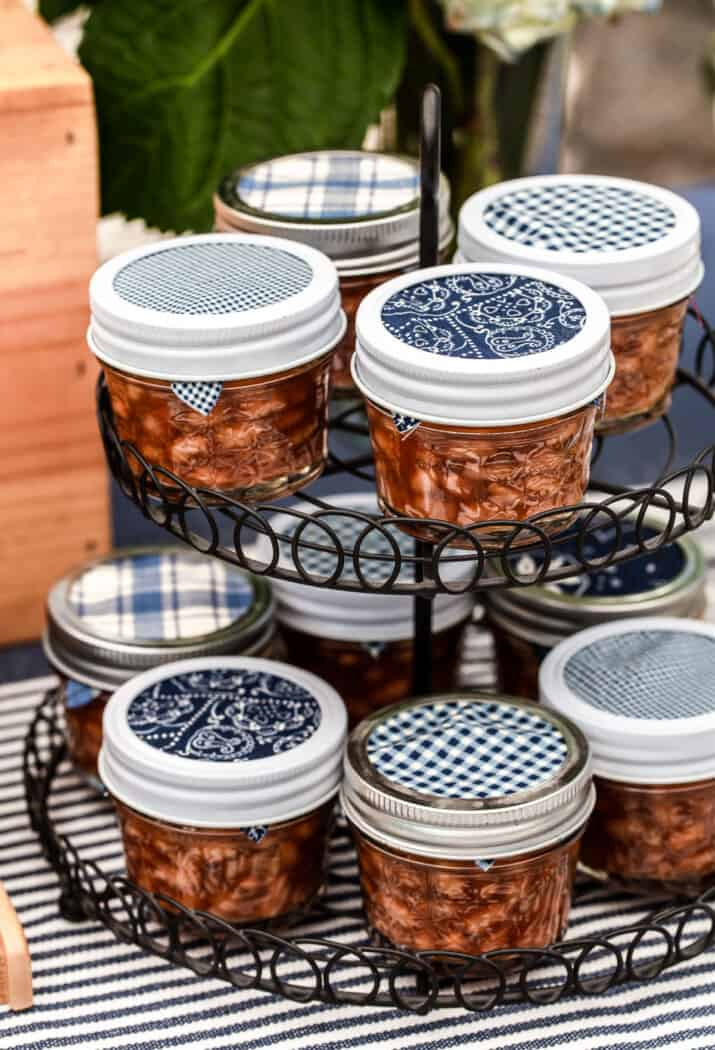 baked beans in small jars, on wire rack