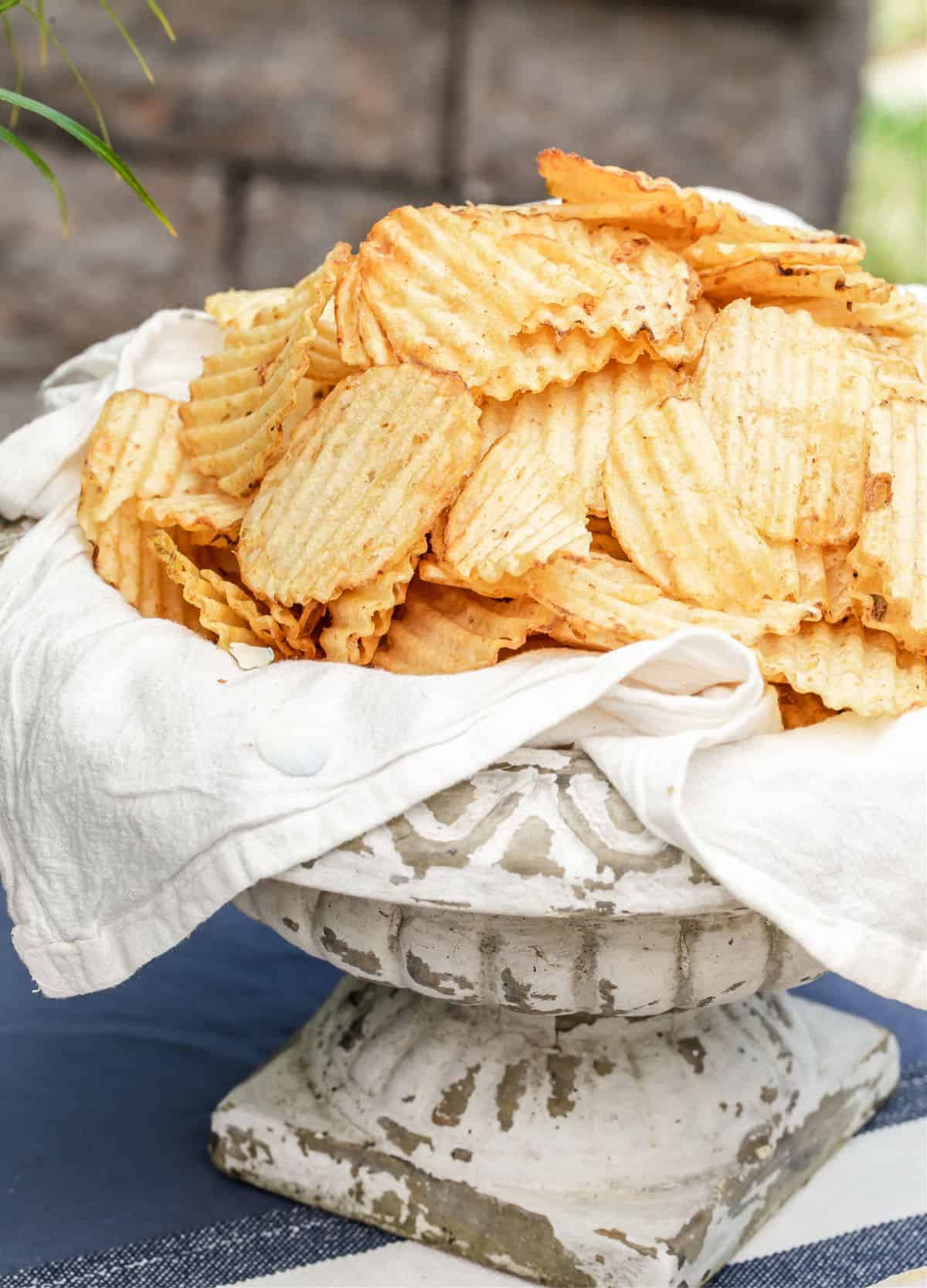 potato chips in garden urn