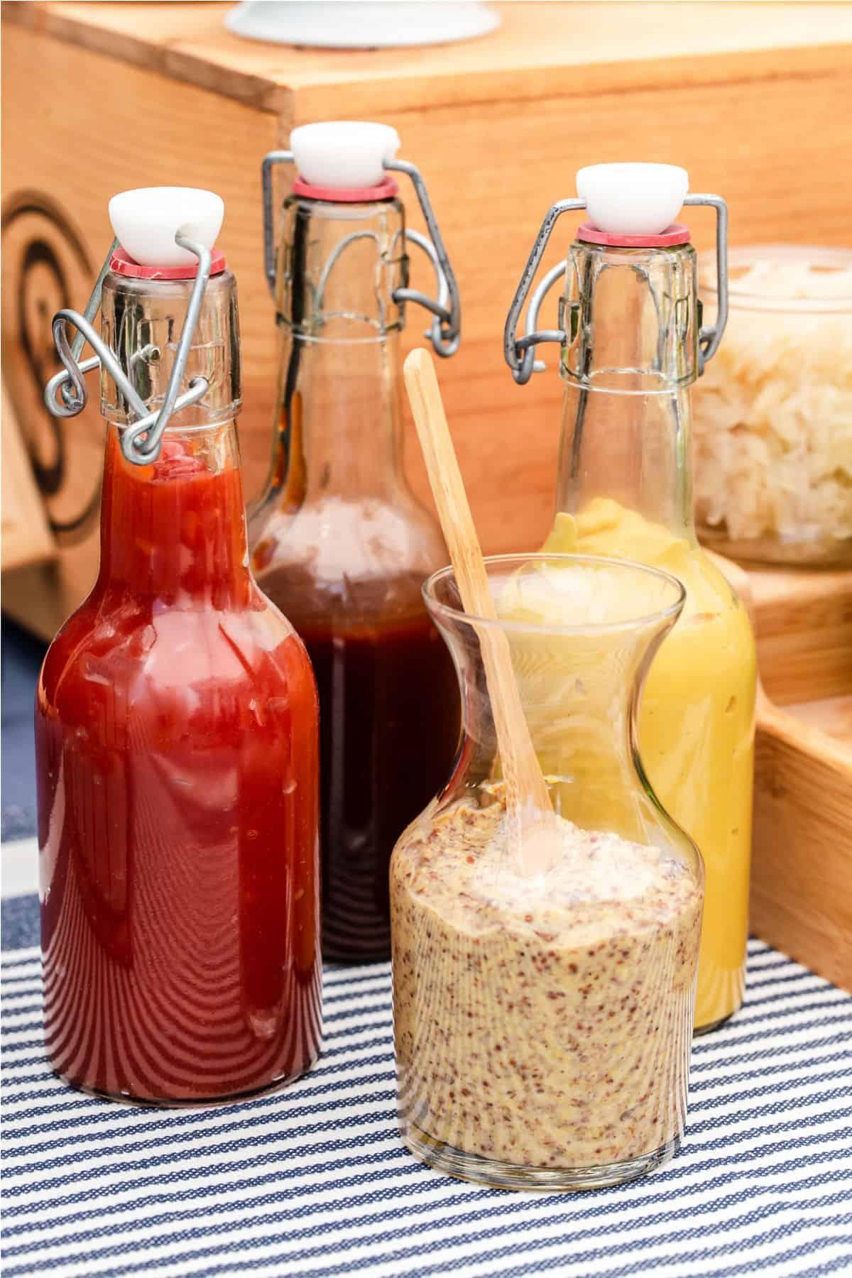 condiments in bottles