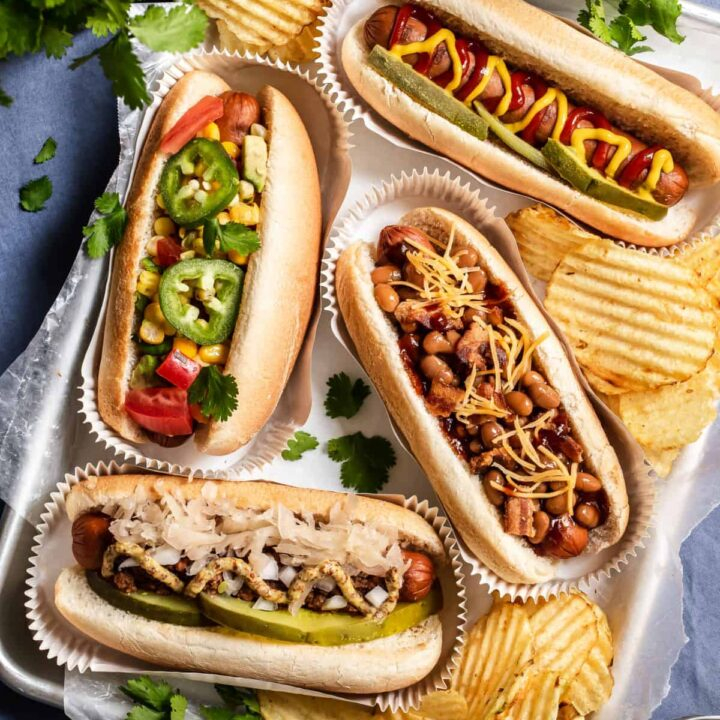 hot dogs topped 4 ways